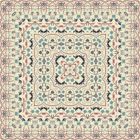 Vintage Arabic pattern. Persian colored carpet. Rich ornament for fabric design, handmade, interior decoration, textiles. Light background.