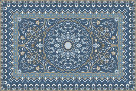 Motif arabe vintage. Tapis de couleur persane. Riche ornement pour la conception de tissus, fait main, décoration d'intérieur, textiles. Fond bleu.