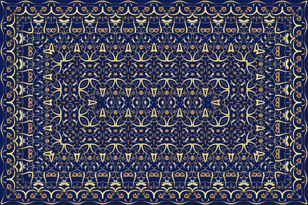 Vintage Arabic pattern. Persian colored carpet. Rich ornament for fabric design, handmade, interior decoration, textiles. Blue background.