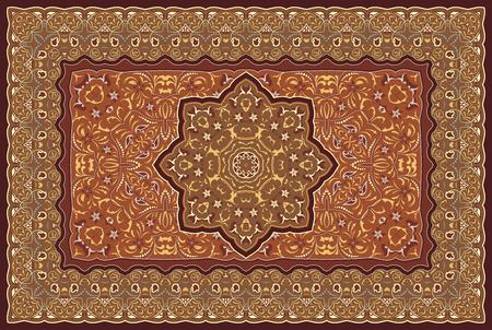 Arabisches Muster der Weinlese. Persischer farbiger Teppich. Reiche Verzierung für Stoffdesign, Handarbeit, Innendekoration, Textilien. Roter Hintergrund.
