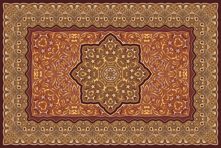 Modello arabo dell'annata. Tappeto persiano colorato. Ricco ornamento per il design del tessuto, fatto a mano, decorazione d'interni, tessuti. Sfondo rosso.