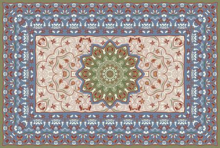 Vintage Arabic pattern. Persian colored carpet. Rich ornament for fabric design, handmade, interior decoration, textiles. Blue background.