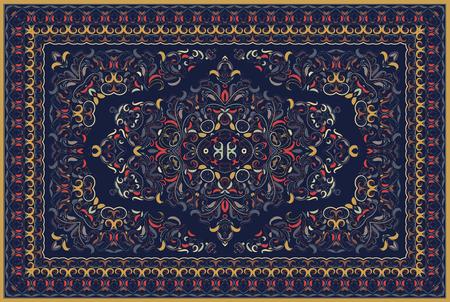 Patrón árabe vintage. Alfombra de color persa. Rico adorno para el diseño de telas, hecho a mano, decoración de interiores, textiles. Fondo azul. Ilustración de vector