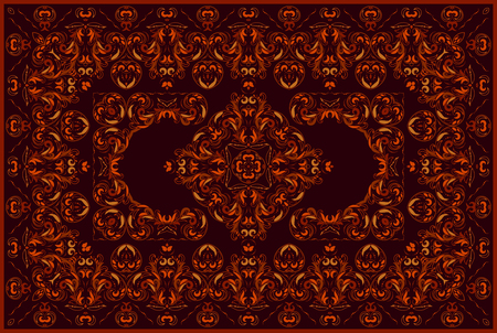 Vintage Arabic pattern. Persian colored carpet. Rich ornament for fabric design, handmade, interior decoration, textiles. Red background. Иллюстрация