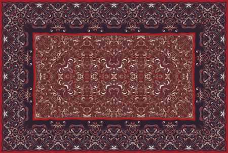 Vintage Arabic pattern. Persian colored carpet. Rich ornament for fabric design, handmade, interior decoration, textiles. Red background. Ilustrace