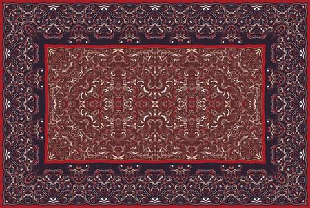 Vintage Arabic pattern. Persian colored carpet. Rich ornament for fabric design, handmade, interior decoration, textiles. Red background. Ilustração