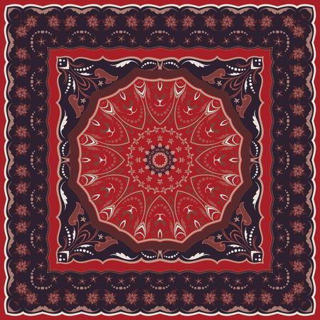 Motif arabe vintage. Tapis de couleur persane. Riche ornement pour la conception de tissus, fait main, décoration d'intérieur, textiles. Fond rouge.