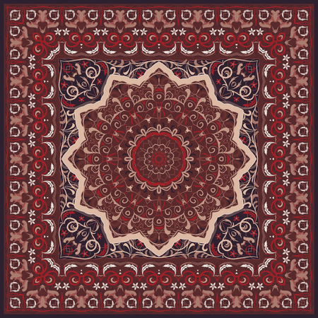 Ancient Arabic pattern. Red Persian carpet with rich ornament for fabric design, handmade, interior decoration, textile.