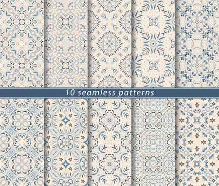 Seamless pattern in Arabic style. Ornaments of arabesques and ornate lines. Persian motifs for printing on fabric, paper or scrapbooking. Illustration