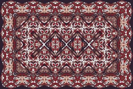 Patrón árabe vintage. Alfombra de color persa. Rico adorno para el diseño de telas, hecho a mano, decoración de interiores, textiles. Fondo rojo.
