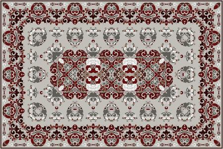 Vintage Arabic pattern. Persian colored carpet. Rich ornament for fabric design, handmade, interior decoration, textiles.
