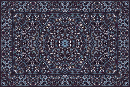 Patrón árabe vintage. Alfombra de color persa. Rico adorno para el diseño de telas, hecho a mano, decoración de interiores, textiles. Fondo azul.