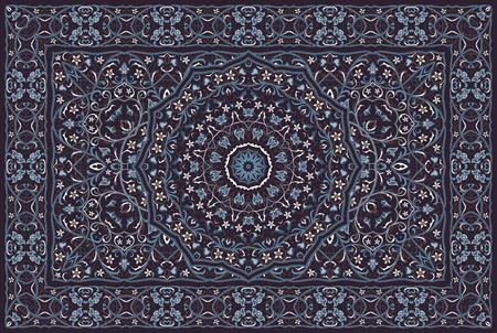 Vintage Arabic pattern. Persian colored carpet. Rich ornament for fabric design, handmade, interior decoration, textiles. Blue background. 版權商用圖片 - 120370331