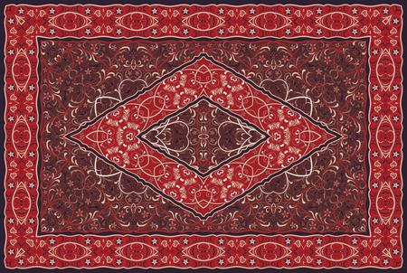 Arabisches Muster der Weinlese. Persischer farbiger Teppich. Reiche Verzierung für Stoffdesign, Handarbeit, Innendekoration, Textilien. Roter Hintergrund. Vektorgrafik