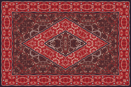 Vintage Arabic pattern. Persian colored carpet. Rich ornament for fabric design, handmade, interior decoration, textiles. Red background. Ilustração