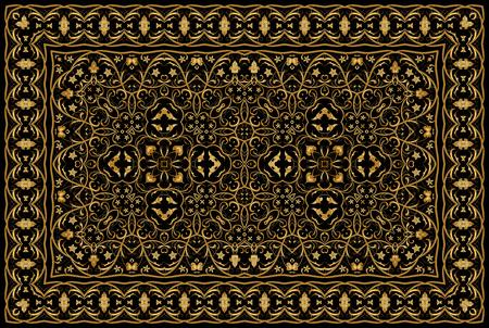 Vintage Arabic golden pattern. Rich Persian colored carpet. Ornament for fabric design, handmade, interior decoration, textiles.