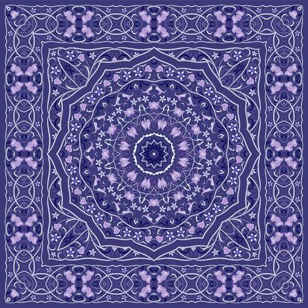 Arabisches Muster der Weinlese. Persischer farbiger Teppich. Reiche Verzierung für Stoffdesign, Handarbeit, Innendekoration, Textilien. Blauer Hintergrund.