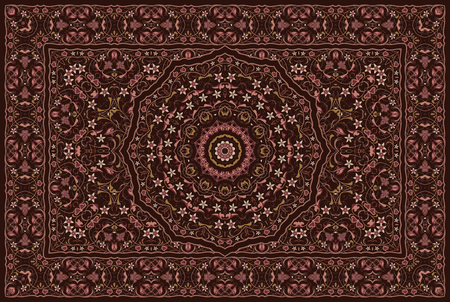 Vintage Arabic pattern. Persian colored carpet. Rich ornament for fabric design, handmade, interior decoration, textiles. Red background. Stock Illustratie