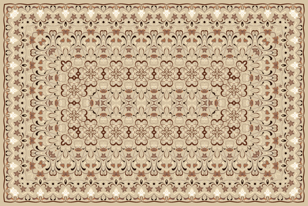 Vintage Arabic pattern. Persian colored carpet. Rich ornament for fabric design, handmade, interior decoration, textiles. Brown background.