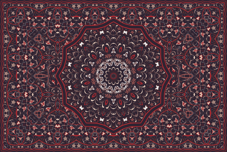 Vintage Arabic pattern. Persian colored carpet. Rich ornament for fabric design, handmade, interior decoration, textiles. Red background. Illustration