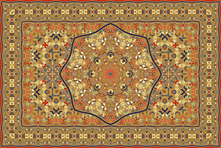Vintage Arabic pattern. Persian colored carpet. Rich ornament for fabric design, handmade, interior decoration, textiles.