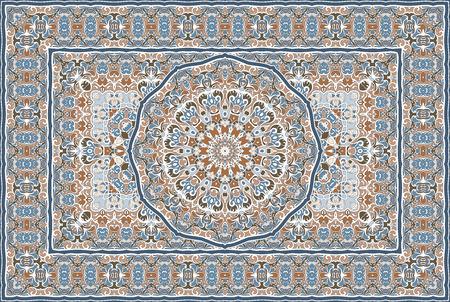 Vintage wzór arabski. Dywan w kolorze perskim. Bogata ozdoba do projektowania tkanin, ręcznie robionych, dekoracji wnętrz, tekstyliów. Niebieskie tło.