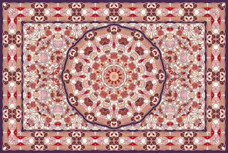 Vintage Arabic pattern. Persian colored carpet. Rich ornament for fabric design, handmade, interior decoration, textiles. Red background.  イラスト・ベクター素材