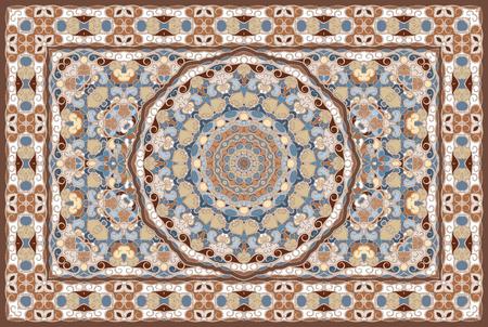 Rich Arabic ornament for carpet. Colored Persian rug.