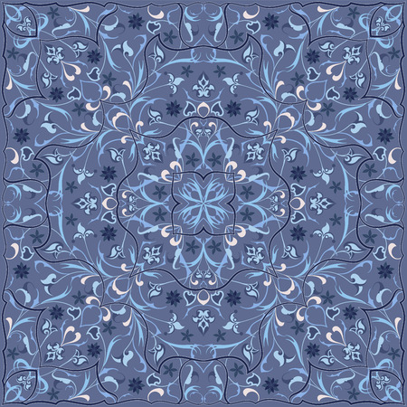 Ancient Arabic pattern. Blue Persian carpet with rich ornament for fabric design, interior decoration, textile scarf.