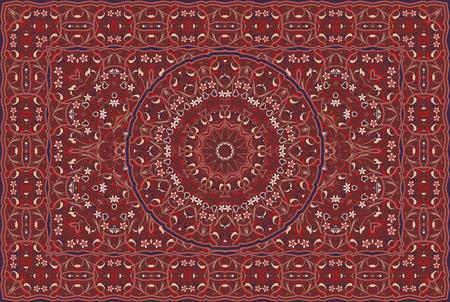 Patrón árabe vintage. Alfombra de color persa. Rico adorno para el diseño de telas, hecho a mano, decoración de interiores, textiles. Fondo rojo. Ilustración de vector