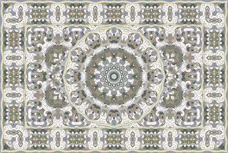 Vintage Arabic pattern. Persian colored carpet. Rich ornament for fabric design, handmade, interior decoration, textiles. Green background. Stock Illustratie