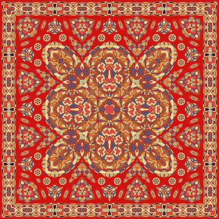 Ancient Arabic square pattern. Red Persian ornament for fabric design, interior decoration, textile scarf, carpet. Vector Illustration