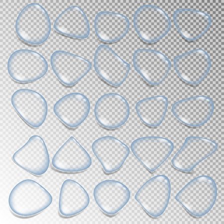 Set of realistic clear water drops. Various shapes for water condensate design, splash.