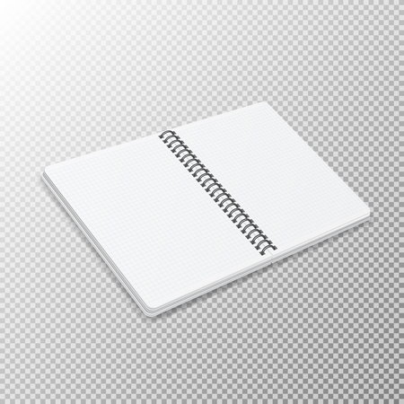 Open notebook template with square grid on transparent background. Realistic isometric notepad with a spiral. 일러스트