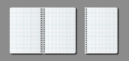 Vector realistic open notepad template. Mock up notebooks with spiral and squares.