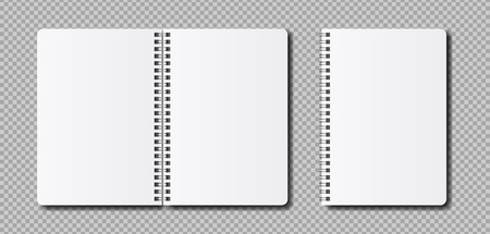 Vector realistic open notepad template. Mockup clean notebook for sketch or lettering. 일러스트