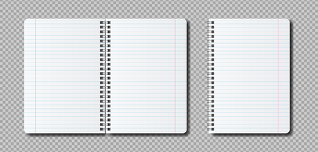 Vector realistic open Notepad template. Mockup notebook with lines for the label. 일러스트