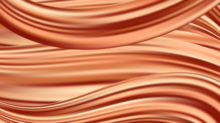 Vektorrealistische Drapierung aus rotem Stoff. Dekorativer Hintergrund aus orangefarbener Seide.
