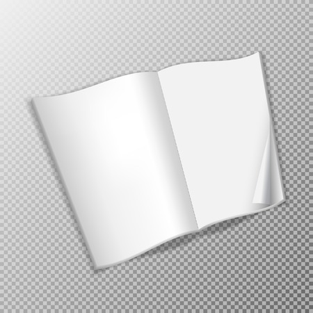 Open brochure template. Realistic layout for magazine or notebook on transparent background. Wrapped page. Illustration
