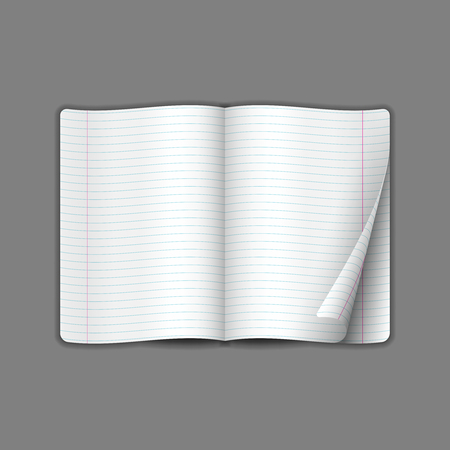 Mock up opened brochure with lines template. Realistic layout for magazine or notebook on gray background. Wrapped page. 일러스트