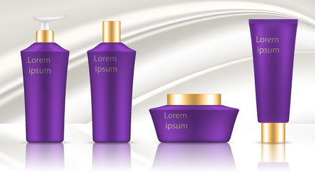 Set of container template for cosmetics. Lilac design with gold lids. Realistic vector mockup on white silk background.