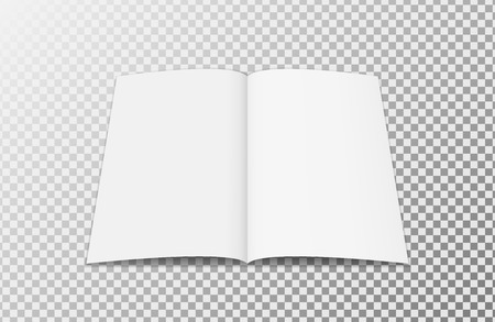 Open brochure template. Realistic layout for magazine or notebook on transparent background.