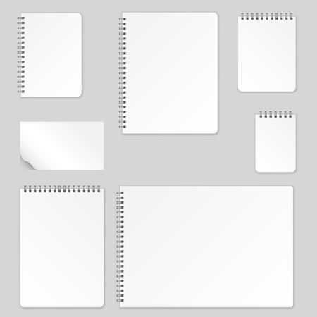 Realistic blank pages notebook template with spiral. Vector mockup notebooks with lines for writing or sketching.