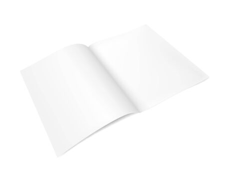 Open notepad, magazine, or brochure template. Realistic vector illustration on white background.