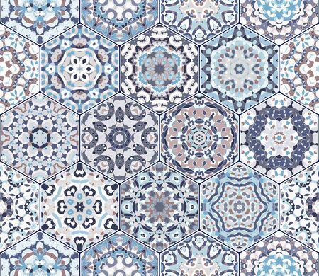 Seamless hexagonal mosaic tiles in vector set. Oriental and ethnic motifs in design patterns. Illustration