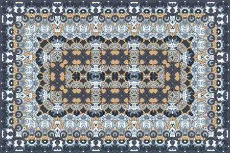 Vintage Arabic pattern. Persian colored carpet. Rich ornament for fabric design, handmade, interior decoration, textiles. Blue background. Ilustracje wektorowe