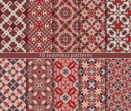 Vector set of ten seamless abstract patterns in ethnic style. Decorative and design elements for textile, book covers, print, gift wrap. Ilustrace