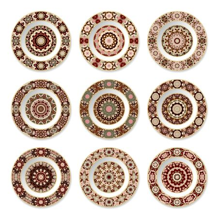 Set of nine decorative plates with a circular colored pattern, top view. White background. Vector illustration. 矢量图像
