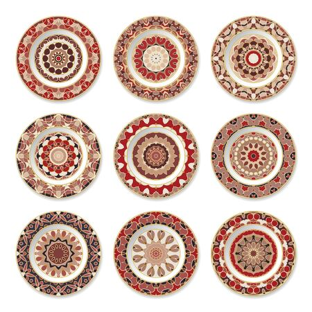 Set of nine red decorative plates with a circular pattern, top view. White background. Vector illustration.