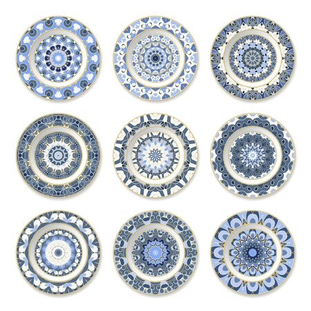 Set of nine decorative plates with a circular colored pattern, top view. White background. Vector illustration. Ilustrace